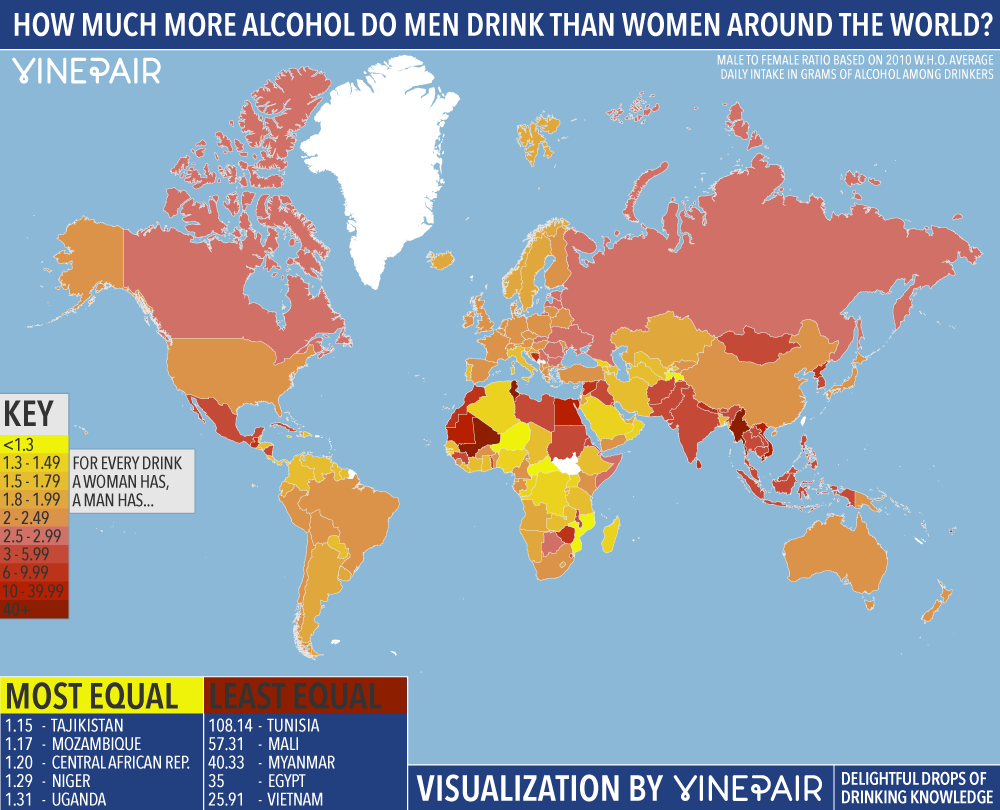 Than Alcohol Drink More How Map Around World Men Much The Women Vinepair Do