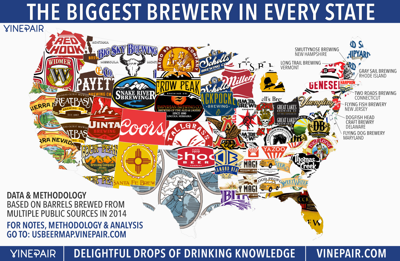 united states brewery map MAP: The Biggest Brewery In Every State In America | VinePair
