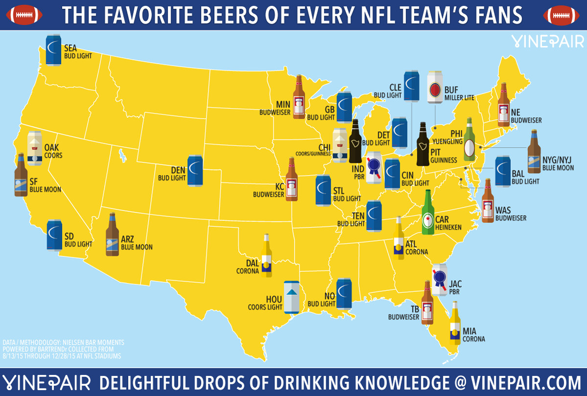 The Favorite Beers Of Every NFL Teams Fans VinePair - Nfl team us map