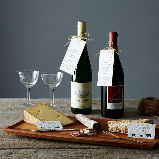 Letterpress Wine And Cheese Tags