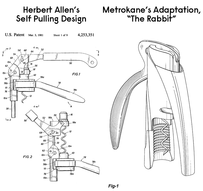 Allen's Self Pulling Corkscrew Patent And The Rabbit Patent For A Similar Device, Two Decades Later