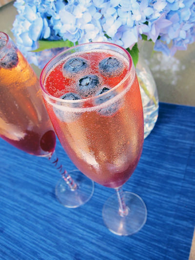 This is a 4th of July Champagne cocktail