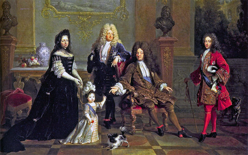 A Portrait Of Louis XIV and His Family...Note His Bright Red Heels