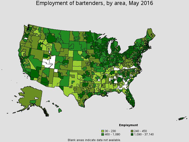 employment of bartenders by metropolitan area