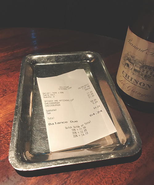 Yeah, the burgers are expensive, but at least we didn't pay for the wine.