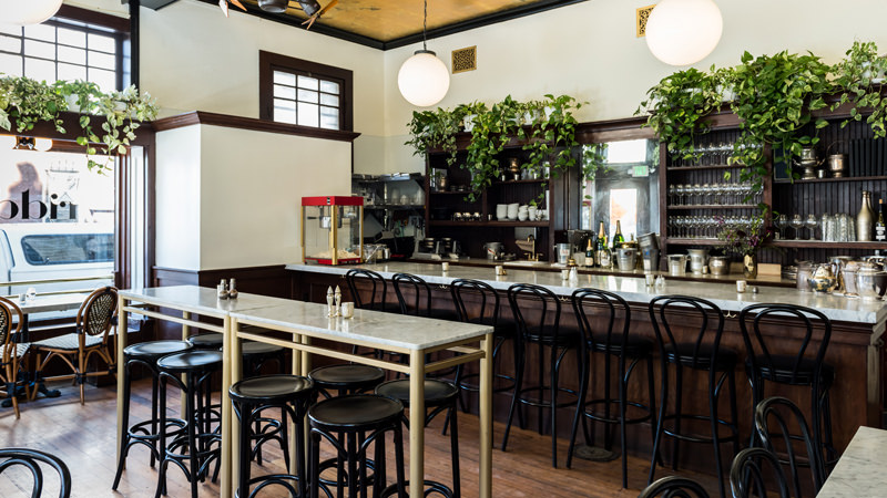The French bistro-inspired interior at The Riddler.