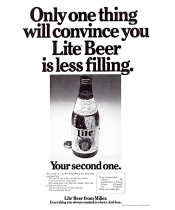 Miller Lite's vintage advertisements targeted everyday drinkers.