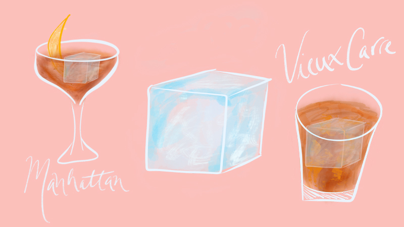 When to use big ice cubes in cocktails.