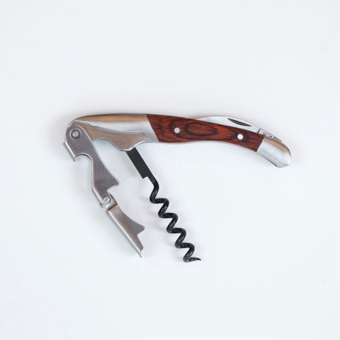 Double hinged sommelier corkscrew with rosewood handle