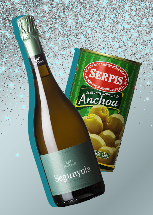 5 Sparkling Wine & Tinned Fish Pairings: Mas Candi Segunyola Brut Nature Cava and Serpis Olives Stuffed with Anchovies