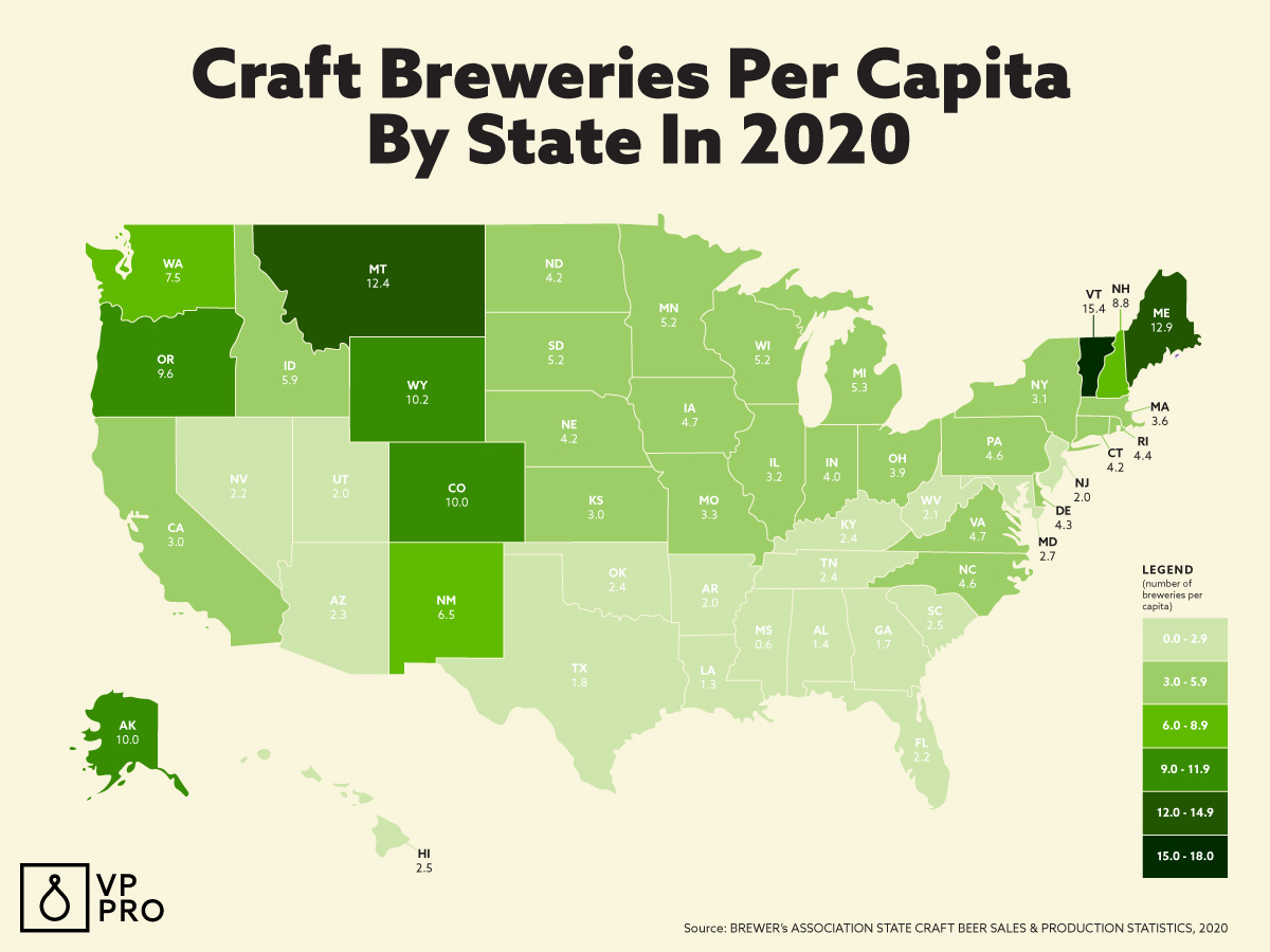 Here is the best map of craft breweries per capita by state in 2020.