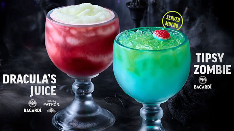 Applebee's Tipsy Zombie and Dracula's Juice cocktails